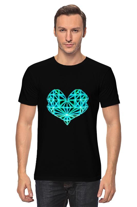 Футболка классическая Printio Сердце геометрическое на черном