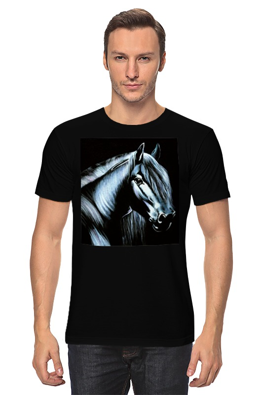 Футболка классическая Printio Лошадь на черном бархате