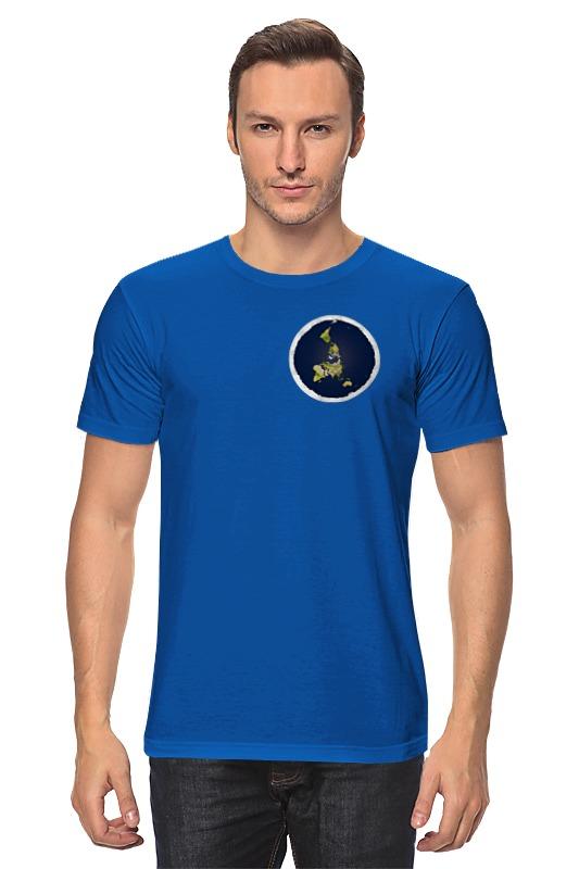 Футболка классическая Printio плоская земля (мужская, синяя)