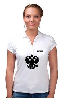 "Рубашка Поло "" Russia"" - русский, россия, герб, russia, флаг"