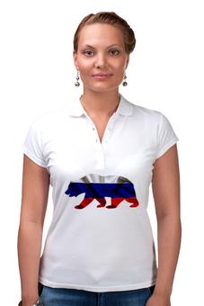 "Рубашка Поло ""Русский Медведь"" - bear, медведь, русский, флаг, russian"