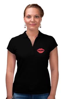 """Рубашка Поло (Женская) """"Губы (рот)"""" - для девушек, сердце, губы, рот"""