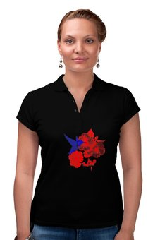 "Рубашка Поло ""Рубашка ПОЛО Колибри и Лилии"" - подарок, стильно, поло, колибри, лилии"