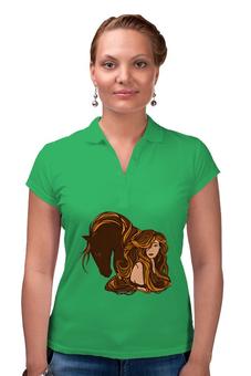 """Рубашка Поло """"Девушка и лошадь"""" - девушка, лошадь"""