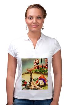 """Рубашка Поло """"Нега."""" - девушка, пустыня, апельсины, нега, расслаьление"""