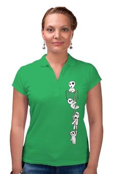 """Рубашка Поло (Женская) """"Лесные духи"""" - аниме, тоторо, карман, мой сосед тоторо, лесные духи"""