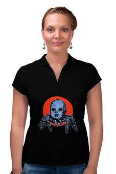 """Рубашка Поло """"Зло из преисподней"""" - голова, ад, смерть, ужасы, паук"""