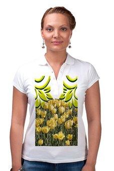 """Рубашка Поло """"Солнечный тюльпан."""" - цветы, тюльпаны, тюльпан, солнечное настроение, поле тюльпанов"""