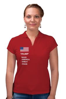 """Рубашка Поло """"Трамп наш!"""" - флаг, сша, президент, выборы, трамп"""