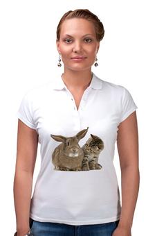 """Рубашка Поло """"Заяц и кот"""" - любовь, кот, заяц"""