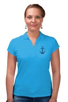"""Рубашка Поло (Женская) """"Якорь"""" - стиль, море, в полоску, полоски, моряк"""