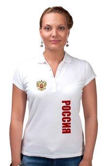 """Рубашка Поло """"Россия"""" - русский, патриот, россия, герб, russia"""