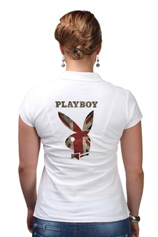 """Рубашка Поло (Женская) """"Playboy Британский флаг"""" - playboy, плейбой, кролик, великобритания, плэйбой"""