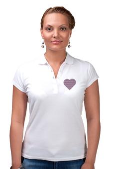 """Рубашка Поло (Женская) """"Сердце"""" - любовь, heart, стиль, мода, полоски"""