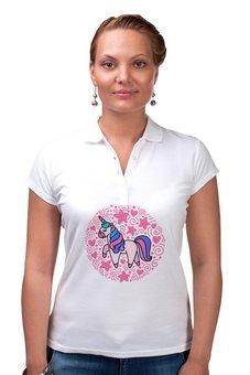 "Рубашка Поло ""Unicorn"" - сердце, узор, звезды, розовый, единорог"
