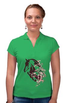 """Рубашка Поло """"Лошадь"""" - цветы, лошадь"""
