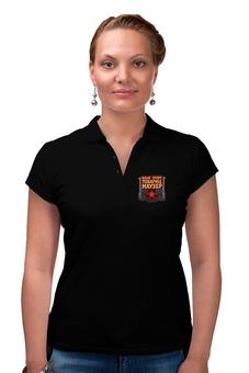 """Рубашка Поло (Женская) """"Товарищ Маузер"""" - пистолет, ссср, революция, серп и молот, большевик"""
