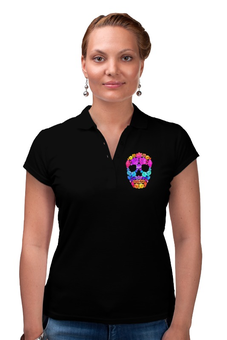 "Рубашка Поло (Женская) ""Skull Art"" - skull, череп, цветы, черепа, skulls"