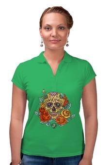 """Рубашка Поло """"Череп"""" - skull, череп, цветы"""