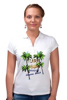 """Рубашка Поло """"SURF 68"""" - лето, поло, пальмы, женское, клевая"""