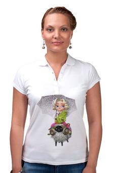 """Рубашка Поло """"Девочка на баране"""" - друзья, животные, блондинка, девочка, зонтик"""