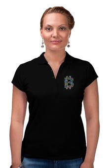 """Рубашка Поло """"Офис крипто стиль (черный)"""" - женская футболка, bitcoin, bitcoin shop, одежда биткоин, крипто одежда"""