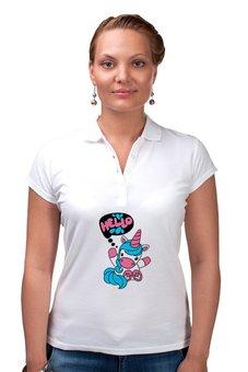 """Рубашка Поло """"Unicorn"""" - привет, надпись, голубой, розовый, единорог"""