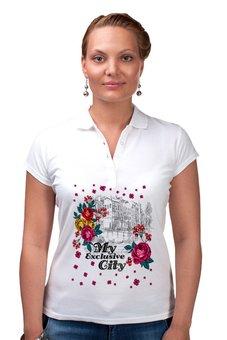 """Рубашка Поло """"Город"""" - цветы, город"""