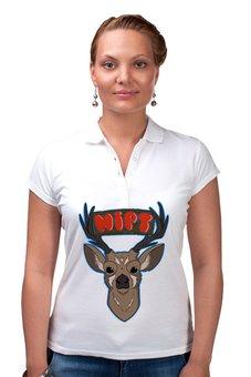 """Рубашка Поло """"MIPT """"Олень"""" белая"""" - животные, олень, мфти, физтех, mipt"""