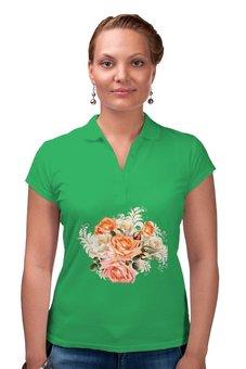 """Рубашка Поло """"Чайная роза"""" - цветы, розы"""