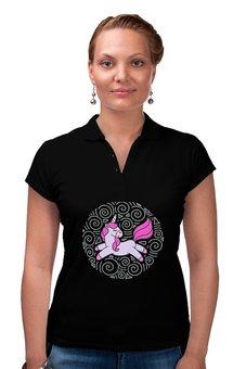 "Рубашка Поло ""Unicorn"" - узор, голубой, орнамент, розовый, единорог"