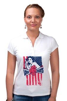 "Рубашка Поло ""Love Hurts"" - сердце, любовь, америка, usa, сша"