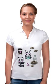 """Рубашка Поло """"Панды с печеньками"""" - сердце, любовь, мишка, рисунок, кофе"""