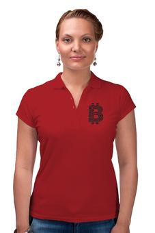 """Рубашка Поло """"Офис крипто стиль (красный)"""" - женская футболка, bitcoin, биткоин, bitcoin shop, футболка биткоин"""