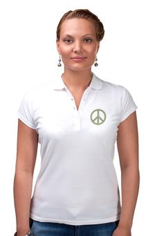 "Рубашка Поло (Женская) ""Пацифик"" - стиль, мир, peace, полоски, пацифист"