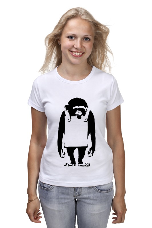 Футболка классическая Printio Шимпанзе  рекламным щитом