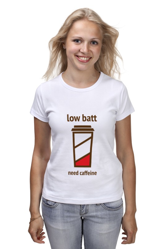 Printio Low batt need caffeine футболка классическая printio low batt need caffeine