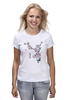 """Футболка (Женская) """"Японская сакура"""" - цветы, вишня, иероглифы, сакура"""