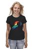 "Футболка (Женская) ""Rainbow Dash Black"" - pony, rainbow dash, mlp, my little pony, пони, brony, мой маленький пони, брони"