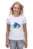 "Футболка (Женская) ""Sonic hedgehog head"" - nintendo, sonic, sega, сега, соник ёж, ёжик соник, video games"