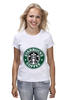 "Футболка (Женская) ""starbucks coffee"" - зеленый, кофе, coffee, русалка, starbucks, старбакс"