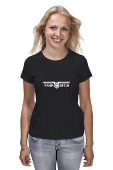 "Футболка (Женская) ""Rammstein logo"" - metal, rock, industrial, rammstein, maxidrom"