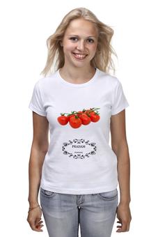 """Футболка (Женская) """"Fuck fake  PRADAM Pomidori"""" - прикол, помидоры, fake, мода, дизайнер"""