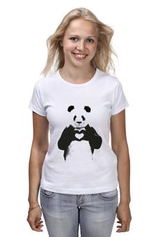 """Футболка (Женская) """"Панда"""" - сердце, любовь, медведь, панда, чёрное и белое"""
