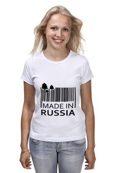 "Футболка (Женская) ""Made in Russia"" - русский, россия, russia, путин, made in russia"