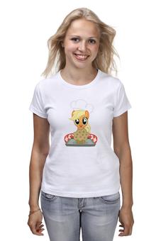 "Футболка (Женская) ""My little pony: Applejack с кексиком"" - пони, кулинария, эпплджек, млп, кулинар"