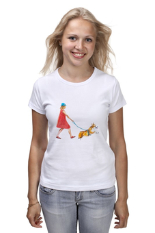"""Футболка (Женская) """"Прогулка"""" - собака, девочка, корги, пемброк, вельшкорги"""