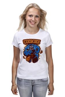 """Футболка (Женская) """"Печеньки"""" - монстр, hulk, халк, печенье, улица сезам"""