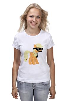 """Футболка классическая """"My Little Pony - AppleJack (ЭпплДжек)"""" - mlp, пони, усы, эппл джек, инкогнито"""