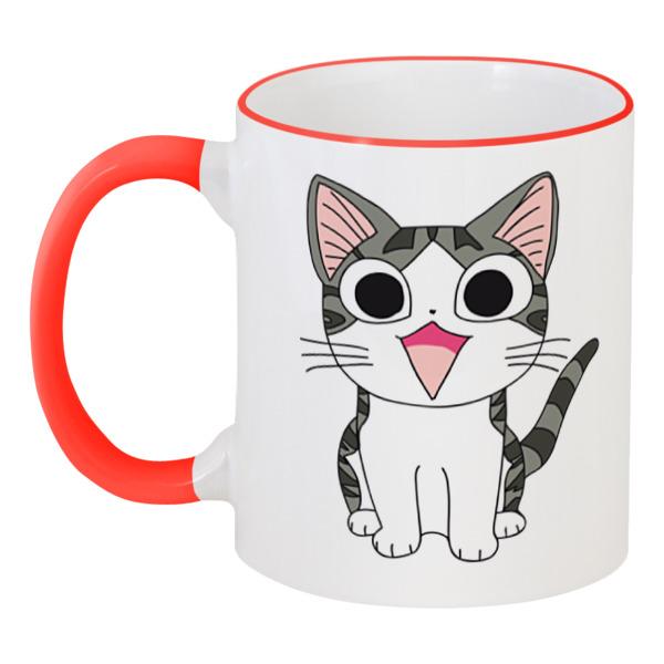 Кружка с цветной ручкой и ободком Printio Милый котёнок котёнок и сева с тополя